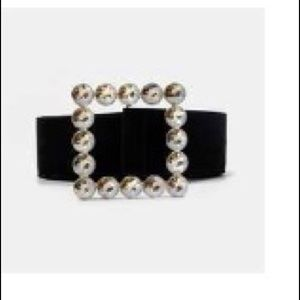 Square Blinged Buckle Belt with elastic Waistband